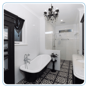 Black and white bathroom is a beauty!